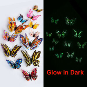 12Pcs 3D Butterfly Glow in The Dark Decal Wall Magnetic Sticker Home Decor Hot