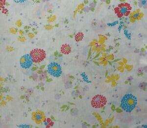"Vintage Dan River Dantrel Twin Flat Sheet Multi Color Mod Floral Daffodil 72x88"""