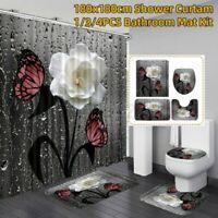 4PCS / Set Rose Schmetterling Wasserfest Duschvorhang Toilette Deckel Bad Mat Se