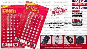 52 X NEW BATTERIES ALKALINE MIXED BUTTON CELL **AG1* AG3* AG4* AG10* AG12* AG13