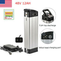 48V 12Ah Lotus Silver Fish E-bike Lithium Battery Charger 350W Electric Bicycle