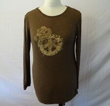 "Earth Yoga Women's Long Sleeve T-Shirt Size XL Brown ""Dream Peace"" Decal"