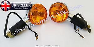 ROYAL ENFIELD CHROME AMBER INDICATOR TRAFFICATOR BLINKER SET LENS PAIR -1035M-SW