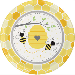 Bumblebee Baby Dinner Plates (8) - Bee Birthday & Baby Shower Party Supplies