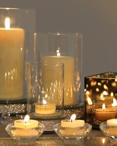 Small Glitz Diamante Glass Hurricane Pillar Candle Holder