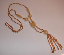 Vintage Amber Crystal CZECH GLASS FLAPPER NECKLACE Art Deco - Unusual Beads