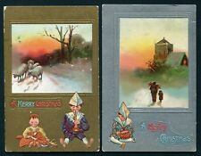 2 Christmas Postcards - 1909 & 1910 Little Boy in Paper Hat Playing Instruments