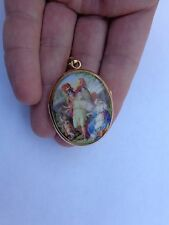 1700s Gold Miniature Enamel Greek Mythology Perseus Andromeda Locket Pendant !