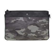 Montblanc Nightflight Pouch Camouflage Grey Saffiano Leather Medium Bag New