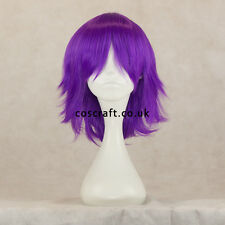 Medium flick cosplay costume wig in purple, UK SELLER, Ash style