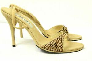 Claudio Milano Vero Cuoio Womens Sandal Beige Suede Crystal Italy