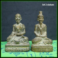 Phra Ruersi, Lersi Buddha Hermit Antique Thai Amulet set 2 Pcs
