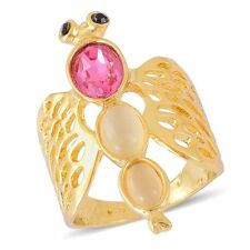 DRAGONFLY AUSTRIAN CRYSTAL CREATED CAT'S EYE PINK GLASS OPENWORK RING SIZE 8.5