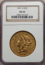 1851-O $20 GOLD DOUBLE EAGLE $20 NGC AU55, PG = $14,500!