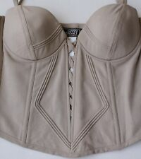 Gianni Versace Couture Vintage Pure Silk Boned Corset Basque Top Mushroom Uk 10