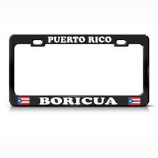 PUERTO RICO BORICUA BLACK Metal Heavy Duty Steel License Plate Frame Tag Border