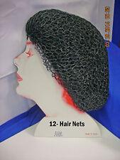 #1062 Nylon Round Elastic Hair net,  Black - 12 pcs.