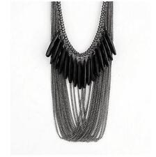 Black Faceted Gem Crystal Rhinestone Long Tassel Bib Necklace Coat Sweater Chain