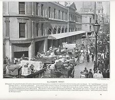 1897 Victoriano impresión ~ Billingsgate mercado pescado Londres ~ Carros puestos más texto