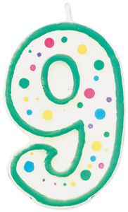 WILTON W91-09  9-GREEN -NUMERAL CANDLE