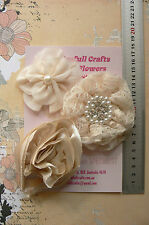 CHAMPAGNE & CREAM Fabric Organza Satin Lace 3 Flowers 75-90mm Njoyfull Crafts J