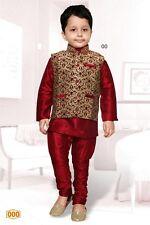 4 Age Boy Kurtha Indian Costume Sherwani Bollywood Suit Burgundy & Gold D9-4