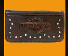 HARLEY Twisted Trademark B&S with Metal Studs iPhone 5 Brown Leather Phone Case