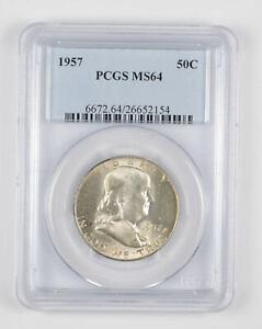 1957 MS64 Franklin Half Dollar - 90% SILVER - PCGS Graded *783