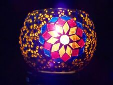 Unique Turkish handmade glass mosaic candle holder - Blue/Orange
