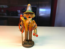 Old Vtg German? Wood Incense Smoker Carrying Kirsch Wasser Bottle & Clock