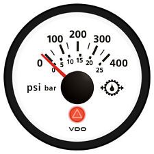 VDO Viewline Ivory 400 PSI/25 bar Gear Pressure Gauge 12/24V - Use with VDO Send