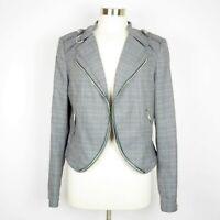 WHITE HOUSE BLACK MARKET Size 14 Gray plaid blazer suit jacket long sleeve coat