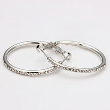 18K White Gold Plated Fashion Crystal Large Circle Woman Earrings Hoop E020