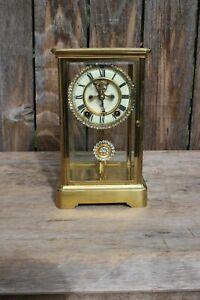 Ansonia Crystal Regulator Mantel Clock w/ Diamond Encrusted Dial & Pendulum