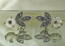 Vtg STERLING Silver MOTHER of PEARL & MARCASITE Earrings~Flowers & Leaves~EX!!!