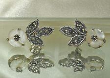 Vtg STERLING Silver MOTHER of PEARL & MARCASITE Earrings~Flowers & Leaves~EX!!!