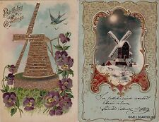 # AUGURALI A RILIEVO...CON MULINI (2 cartoline)