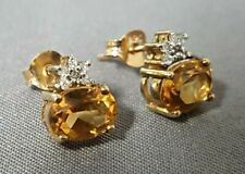 9ct Gold & Citrine & Diamond Stud Earrings.AAA.  Excellent Quality. xded