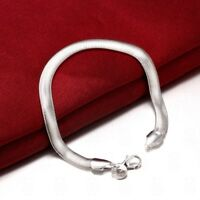 925 Silver Flat Snake Chain Charm Bracelet High Quality + Free Gift Bag