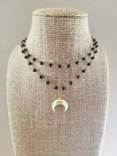 Small Crescent Horn Rosary Chain Beaded Choker Necklace Gift For Her