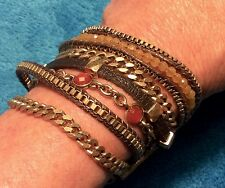 "Lucky Brand Lucky Layers 8 Strand Silver Gold Leather 7.5"" Bracelet MSRP $59"