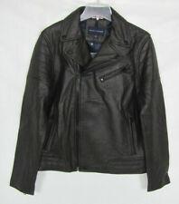NEW Tommy Hilfiger Mens Leather Jacket Dark Chocolate...