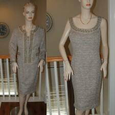 WOW STUNNING ST. JOHN KNIT CARAMEL COLORED COUTURE JACKET AND DRESS SUIT SZ 8