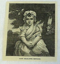 1882 magazine engraving ~ LADY CHARLOTTE BENTINCK at the age of three