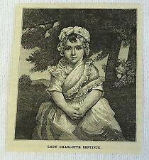 1882 magazine engraving ~ LADY CHARLOTTE BENTINCK at the age of three