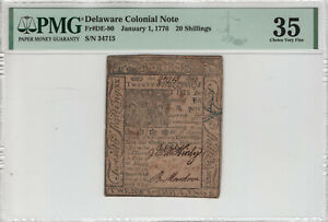 JANUARY 1 1776 20 SHILLINGS DELAWARE COLONIAL NOTE CURRENCY PMG CHOICE VF 35
