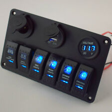 Great 12V 6 Gang Circiut LED Rocker Switch Panel Breaker Voltmeter USB Charger