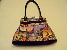 "Shoulder/Tote Bag ""Bueno"" Black Leather with colorful Fabric/Embellishments NWOT"