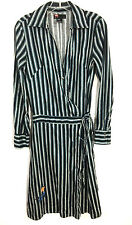 Diesel Long Dress Maxi Snap Button Wrap Around Tie Black Blue Striped Womens M