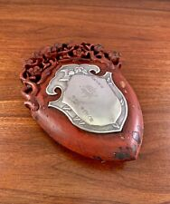 CHINESE SOLID SILVER & RED LACQUER WOOD PLAQUE - MARRIAGE? 18-19TH CENTURY?